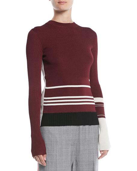 CALVIN KLEIN 205W39NYC Crewneck Long-Sleeve Striped Knit Sweater