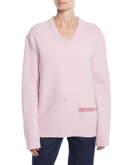 CALVIN KLEIN 205W39NYC V-Neck Long-Sleeve Wool-Cotton Oversized