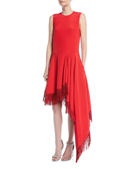 Sleeveless A-Line Silk Dress w/ Fringe Hem