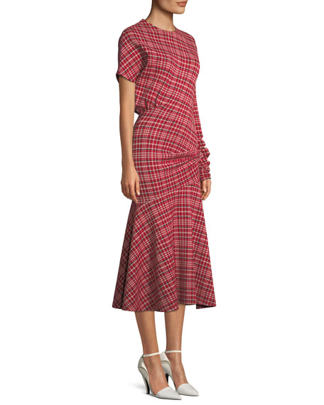 Long-Sleeve Asymmetric Plaid Midi Dress w/ Flounce Hem