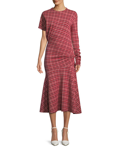 CALVIN KLEIN 205W39NYC Long-Sleeve Asymmetric Plaid Midi Dress
