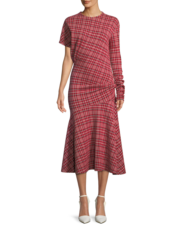 Long Sleeve Asymmetric Plaid Midi Dress W Flounce Hem