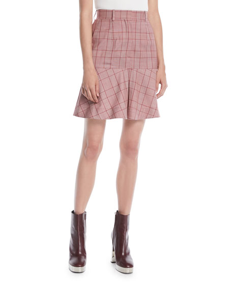 CALVIN KLEIN 205W39NYC High-Waist Plaid Flared Wool Skirt