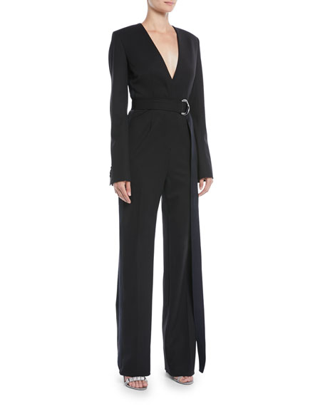 Long-Sleeve V-Neck Belted Jumpsuit