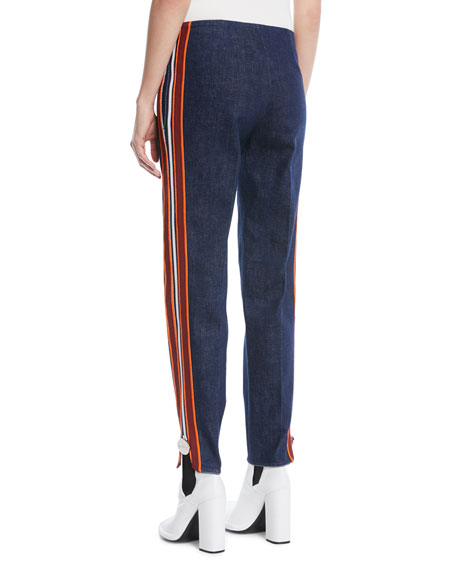 Side Stripe Zipper Skinny Jeans