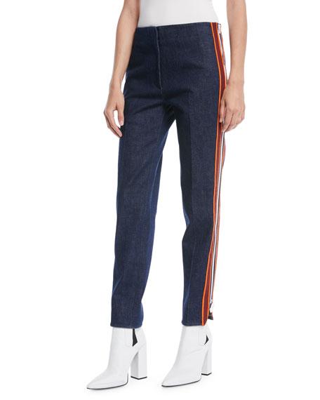 Side Stripe Zipper Skinny-Leg Jeans