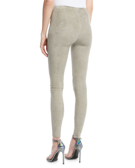 Suede Side-Zip Leggings