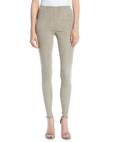 Ralph Lauren Collection Suede Side-Zip Leggings