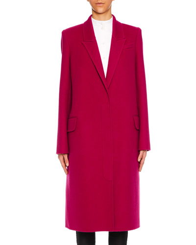 Peak-Lapels Single-Breasted Wool-Cashmere Classic Coat