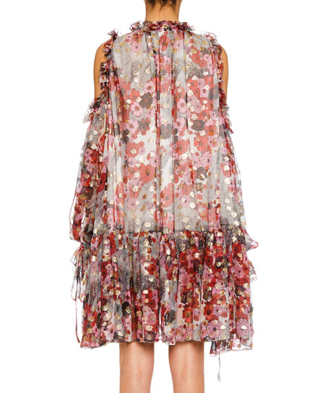Cold-Shoulder Feather-Print Silk Fil Coupe Peasant Dress