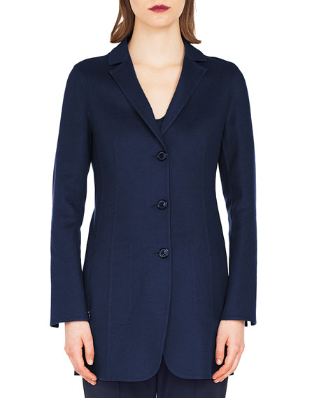 Marion Three-Button Wool-Cashmere Long Jacket