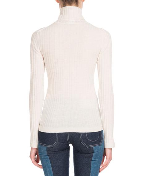 Long-Sleeve Fine-Ribbed Wool Turtleneck Sweater
