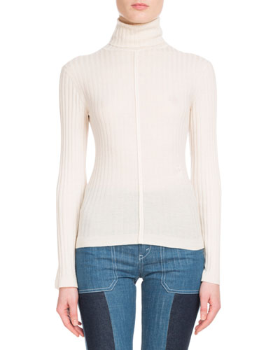 Long-Sleeve Fine-Ribbed Wool Turtleneck Sweater