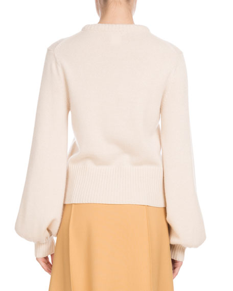 Iconic Cashmere Bubble-Sleeve Sweater