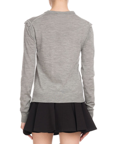 Scallop-Shoulder Crewneck Sweater