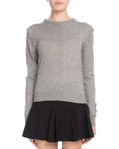 Chloe Scallop-Shoulder Crewneck Sweater