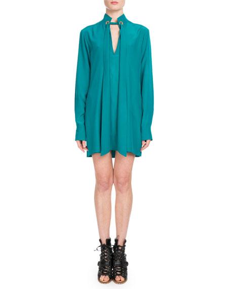 Long-Sleeve Open-Neck Silk Crepe de Chine Short Dress w/ Ring Scarf Detail