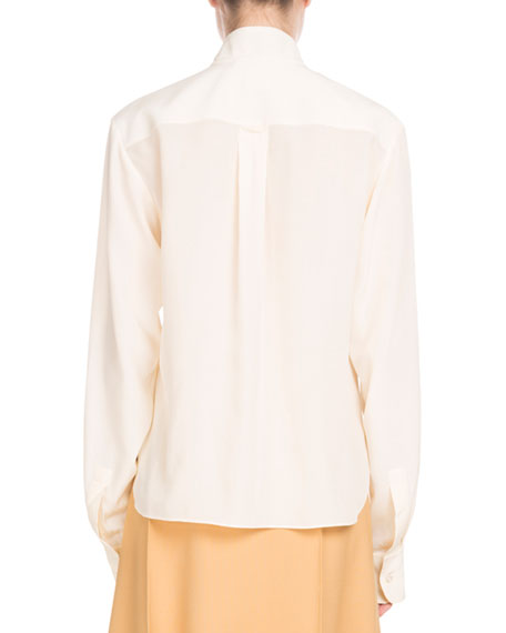 Long-Sleeve Open-Neck Silk Crepe de Chine Blouse w/ Ring Scarf