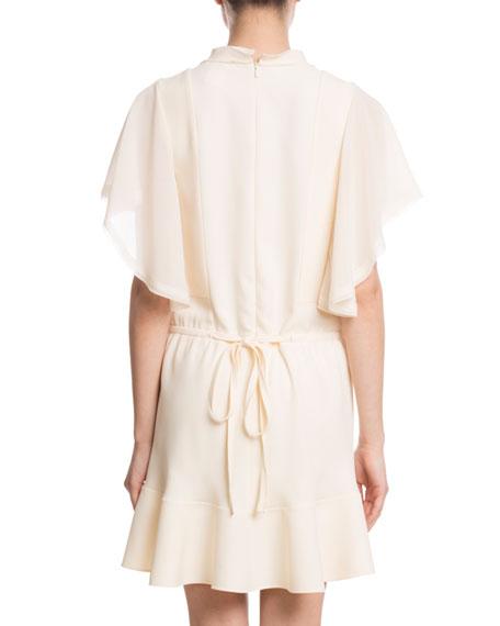 Flutter-Sleeve Drawstring-Waist Light-Cady Short Dress