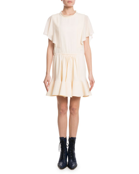 Chloe Flutter-Sleeve Drawstring-Waist Light-Cady Short Dress