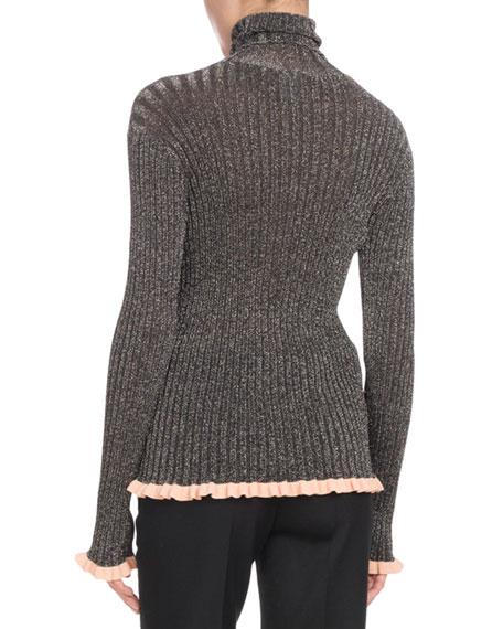 Turtleneck Long-Sleeve Metallic-Ribbed Knit Sweater