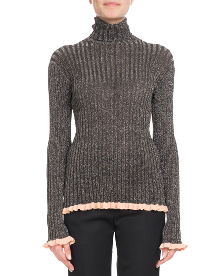 Chloe Turtleneck Long-Sleeve Metallic-Ribbed Knit Sweater and