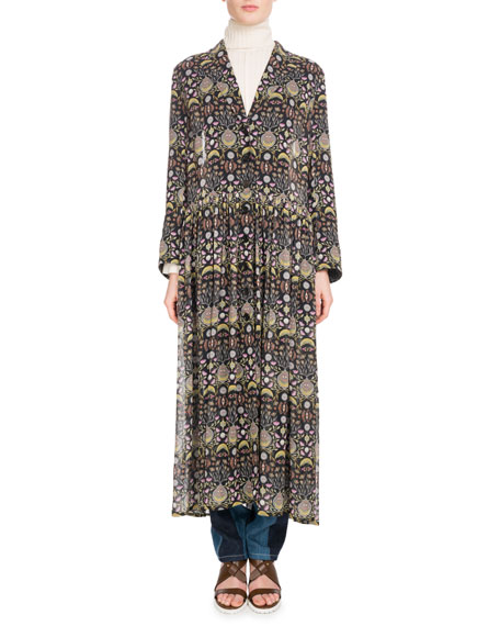 Long-Sleeve V-Neck Button-Front Blossom-Print Georgette Duster Jacket