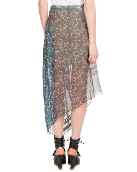 Garden-Print Asymmetric-Hem Mid-Calf Georgette Skirt