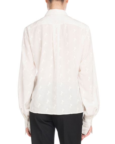 Long-Sleeve Button-Front Tonal Horse-Print Silk Crepe de Chine Blouse