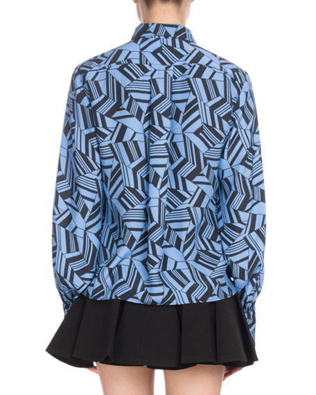 Long-Sleeve Button-Front Geometric-Print Silk Crepe de Chine Blouse