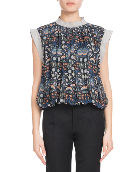 Blossom-Print Viscose Georgette Blouse with Bubble Hem