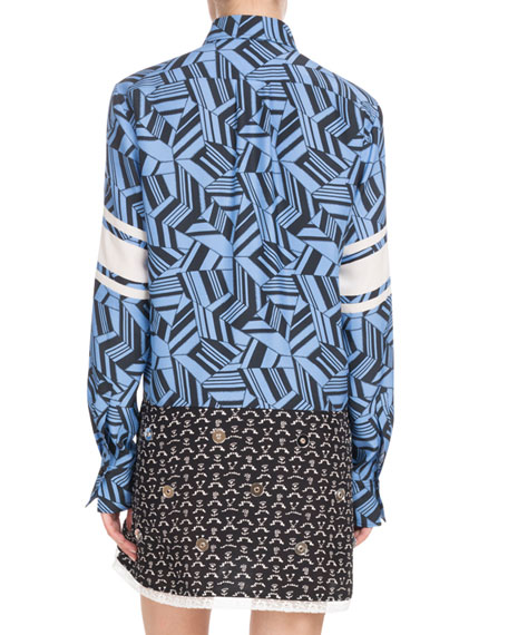 Long-Sleeve Button-Front Geometric-Print Silk Dress w/ Mirror Grommets