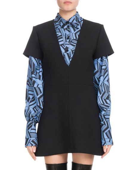 Short-Sleeve Deep-V Wool Crepe Mini Dress