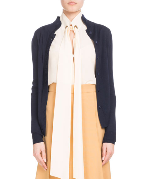 Chloe Scallop-Front Collared Cardigan and Matching Items