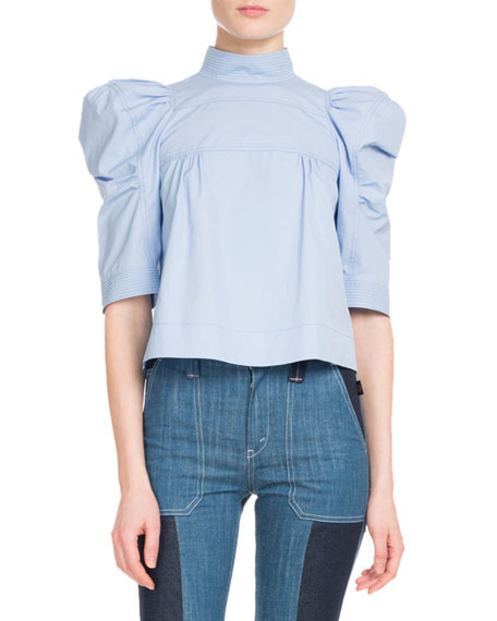 Elbow-Sleeve Mock-Neck Cotton Poplin Cropped Blouse