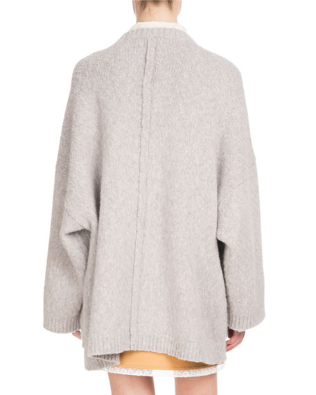 Long-Sleeve Open-Front Oversized Wool-Cashmere Cardigan