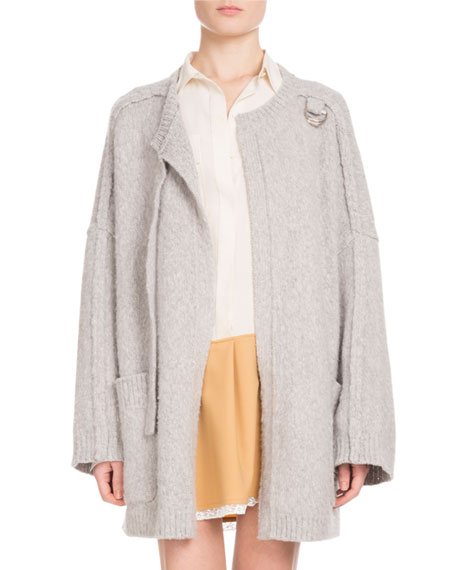 Chloe Long-Sleeve Open-Front Oversized Wool-Cashmere Cardigan and