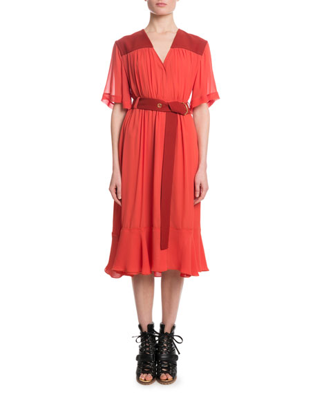 Short-Sleeve V-Neck Mousseline Mid-Calf Dress w/ Self Belt