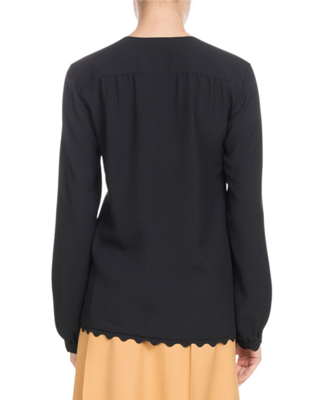 V-Neck Long-Sleeve Scallop-Hem Light-Cady Blouse