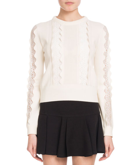 Crewneck Long-Sleeve Wool Scalloped Knit Sweater with Lace Inserts