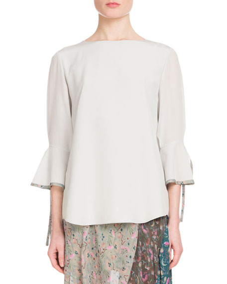 Bell-Sleeve Silk Blouse with Cuff Detail