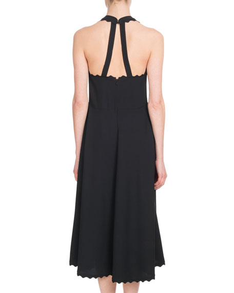 Sleeveless Halter Light-Cady Ankle-Length Dress w/ Scalloped Edges