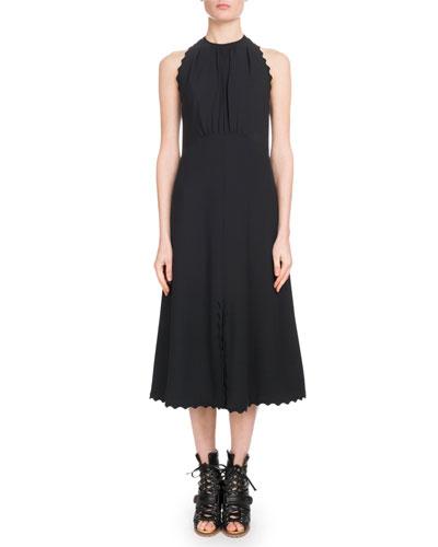 Sleeveless Halter Light-Cady Ankle-Length Dress w/ Scalloped Edges