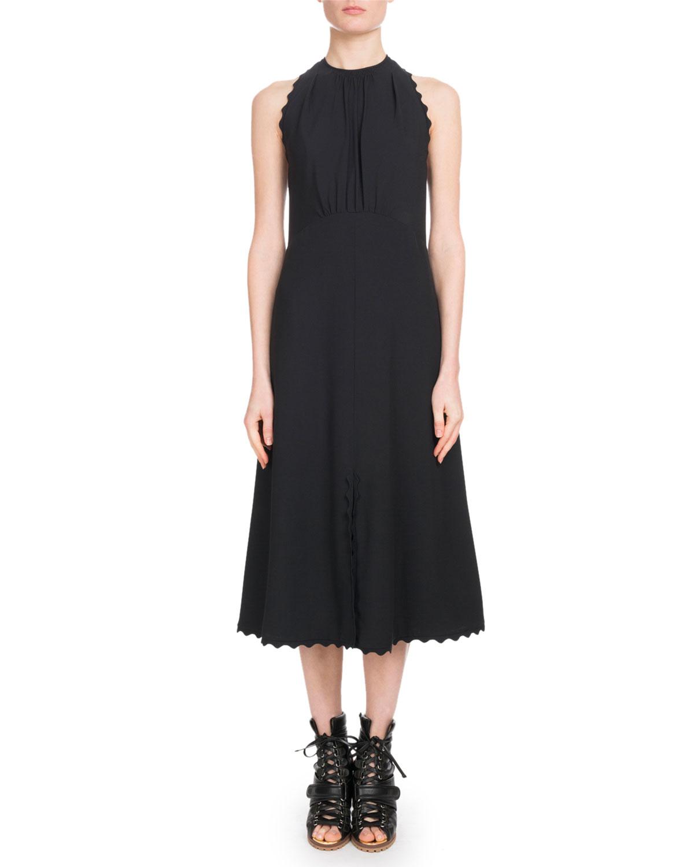 c1fb7dd46c Sleeveless Halter Light-Cady Ankle-Length Dress w/ Scalloped Edges