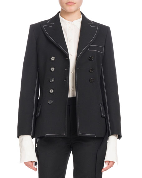 Double-Breasted Self-Belt Wool-Blend Jacket, Black