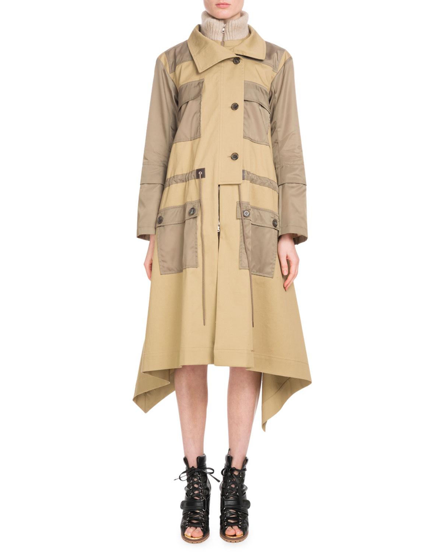 Chloe Zip Front Mid Calf Parka Coat W Nylon Patch Pockets