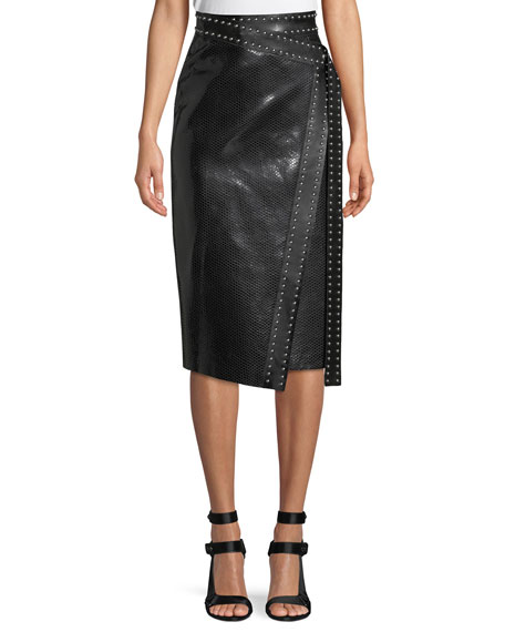 Alexander McQueen Python-Embossed Lamb-Leather Midi Wrap Skirt w/