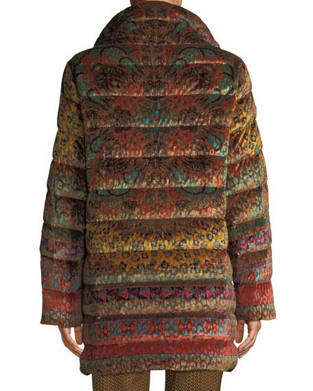 Reversible Paisley-Jacquard Velvet Quilted Mid-Length Puffer Coat