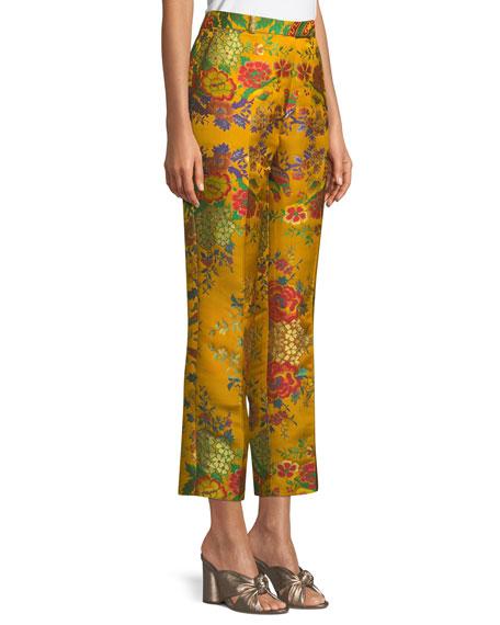 High-Rise Straight-Leg Cropped Floral-Jacquard Pants