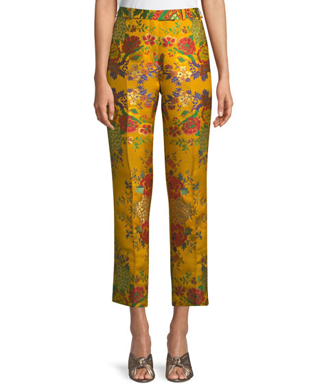 Etro High-Rise Straight-Leg Cropped Floral-Jacquard Pants